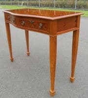 SOLD - Yew Serpentine Front Two Drawer Side Table
